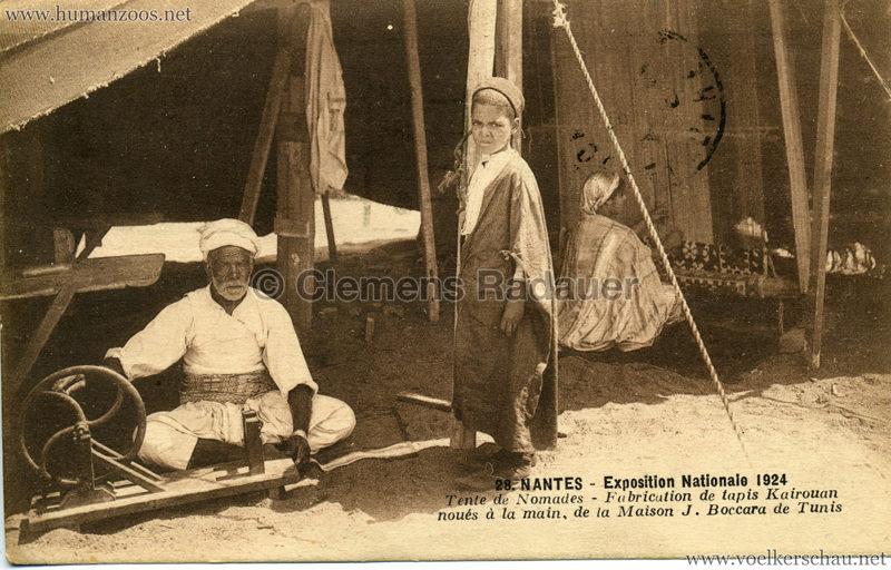 1924 Exposition Nationale Nantes 28. Tente de Nomades - Fabrication de tapis Kairouan noués à la main, de la Maison J. Boccara de Tunis