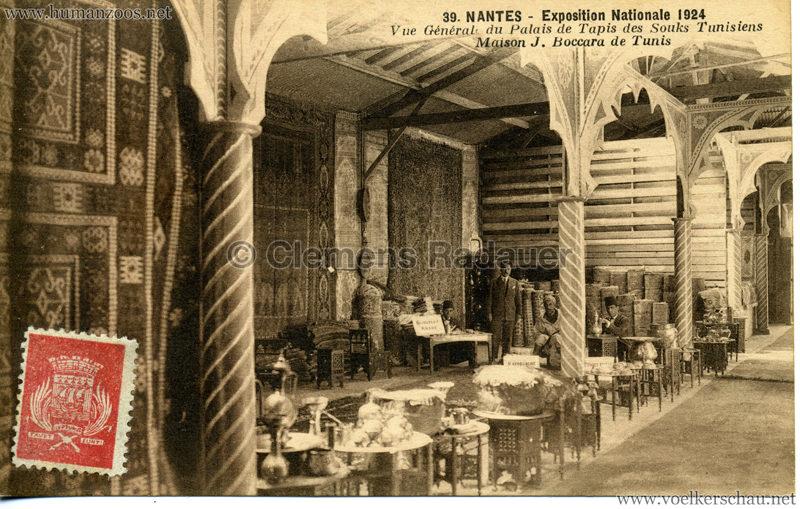 1924 Exposition Nationale Nantes 39. Vue Général du Palais de Tapis des Souks Tunisiens Maison J. Boccara de Tunis