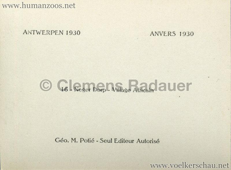 1930 Exposition d'Anvers - Village Africain - Negerdorp RS