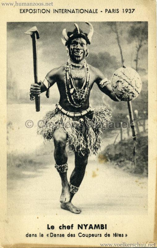 1937 Exposition Internationale Paris - Le chef NYAMBI dans la Danse des Coupeurs de tetes