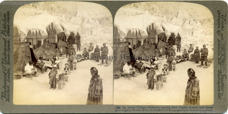 1904 World's Fair, St. Louis - (38) An Arctic Village - Eskimos among their topeks (tents) and snowigloo (right)
