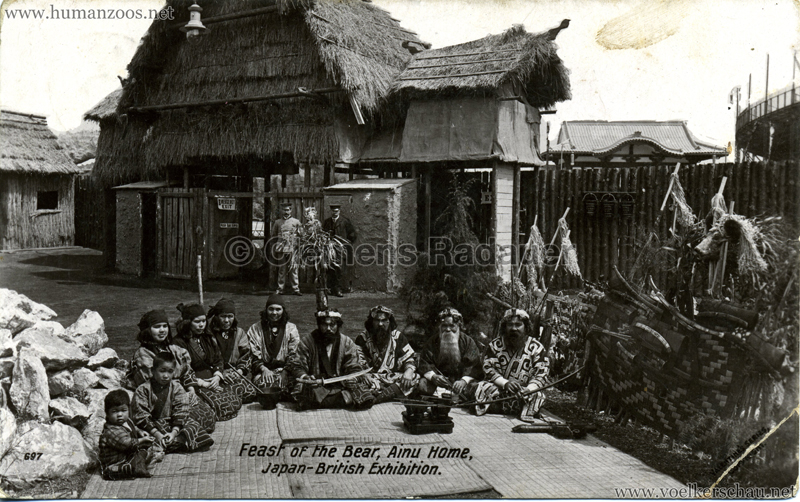 697. Japan-British Exhibition - Feast of the Bear, Ainu Home B&W
