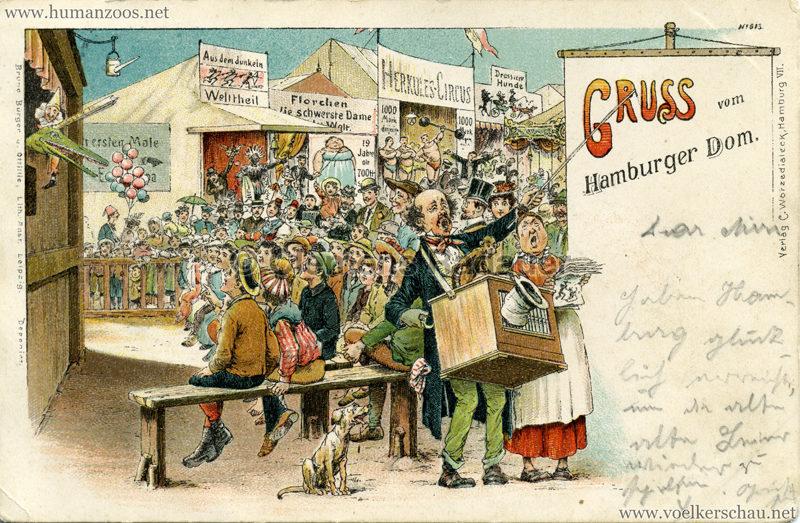 Gruss vom Hamburger Dom - Aus dem dunklen Erdtheil gel. 1899