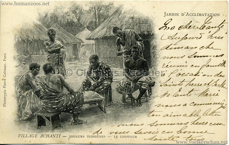 Jardin d'Acclimatation - Village Achanti - Joueurs indigènes - le coiffeur