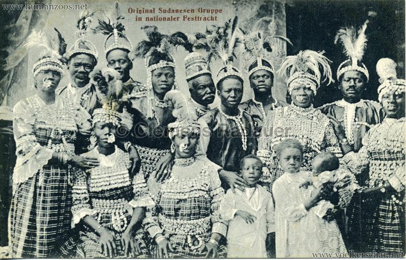 Original Sudanesen Gruppe in nationaler Tracht