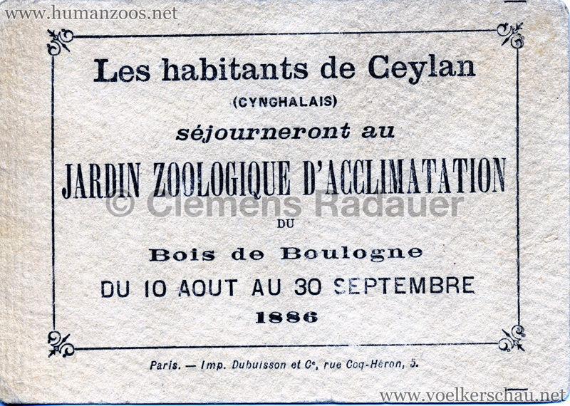 1886 Les Cynghalais - Jardin d'Acclimatation WERBEKARTE RS