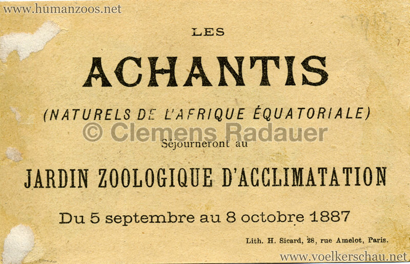 1887 Achantis - Paris Jardin d'Acclimatation WERBEKARTE 2 RS