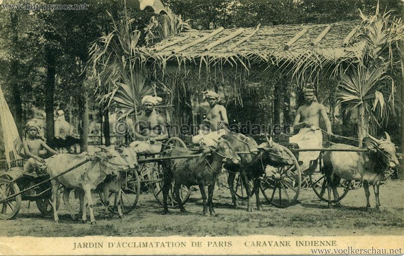 1906 Jardin d'Acclimatation - Caravane Indienne - 4 Männer mit Zebukarren