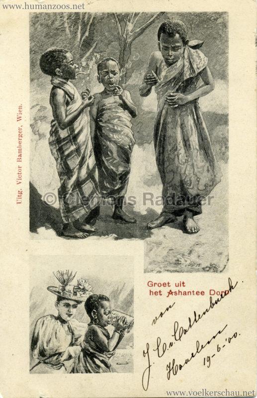 1900 Groet uit het Ashantee Dorp gel. 19.06.1900 VS
