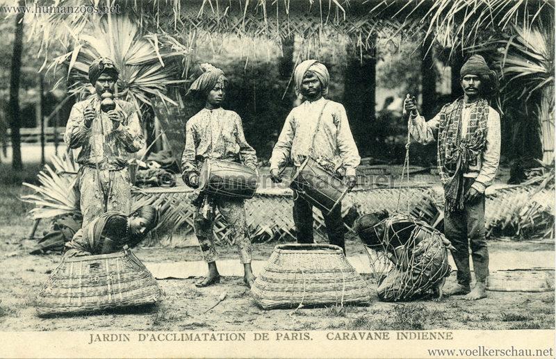 1906 Jardin d'Acclimatation - Caravane Indienne - 3 Musiker, 1 Fakir & 2 Frauen