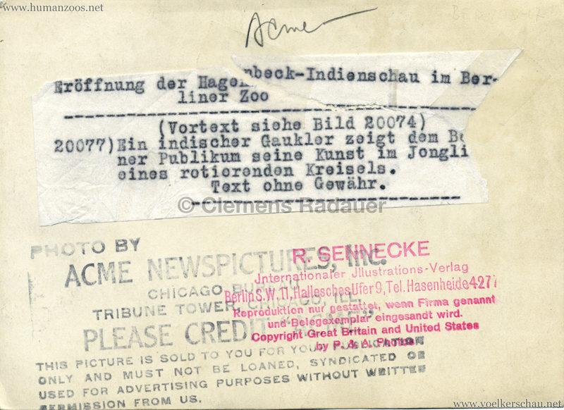 1926 John Hagenbeck's Indienschau - PRESSEFOTO Berlin RS
