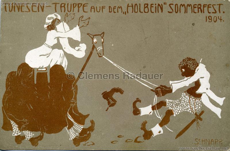 1904 Marquardt's afrik. Völkerschau - Tunesen-Truppe auf dem Holbein Sommerfest