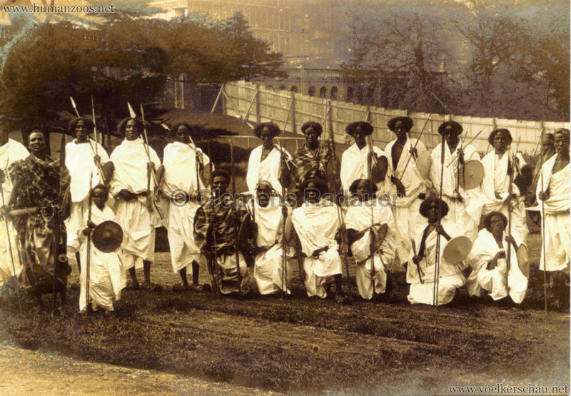1911 Coronation Exhibition London - A group of African tribesmen at the Crystal Palace for the Festival of Empire - Lambeth Archives