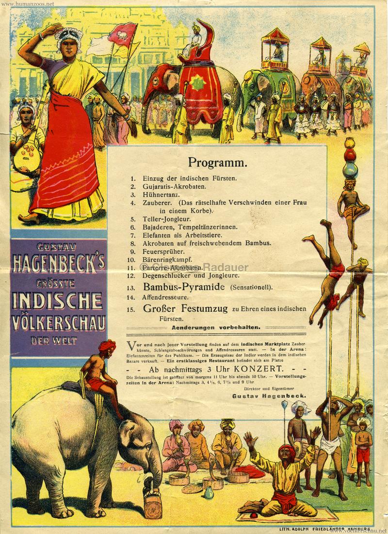 1911:1912 Gustav Hagenbeck's grösste indische Völkerschau der Welt - Programm Oktoberfest