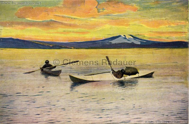 1911 Ausstellung Nordland, Berlin-Halensee - Tauchende Eskimos im Kajak v