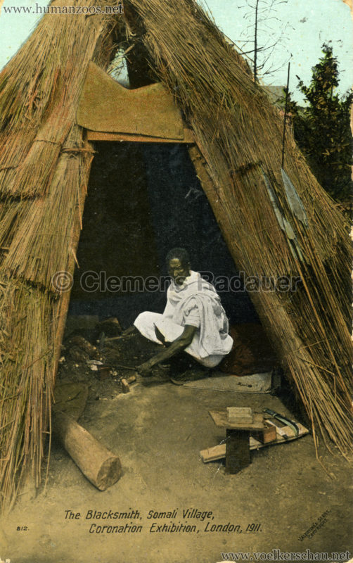 1911 Coronation Exhibition London - 812. The Blacksmith, Somali Village