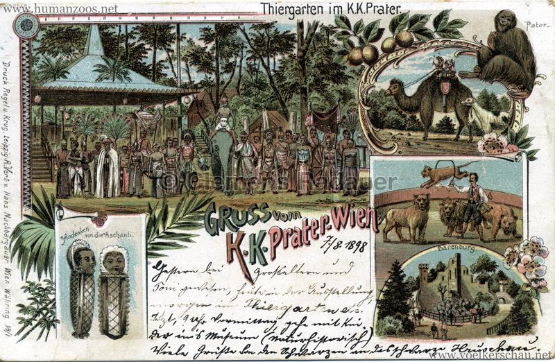 Gruss vom K. K. Prater Wien - Andenken von die Aschanti gel. 06.08.1898 v