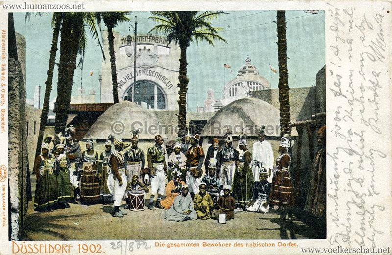 1902 Industrie- & Gewerbeausstellung Düsseldorf - Die gesammten Bewohner des nubischen Dorfes gel. 29.08.1902