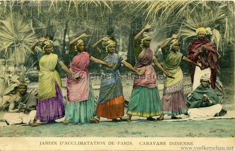 1906 Jardin d'Acclimatation - Caravane Indienne - 5 Tänzerinnen & 3 Männer (koloriert)
