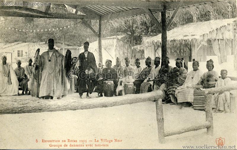 1903 Exposition de Reims - 5. Le Village Noir - Groupe de danseurs avec tam-tam