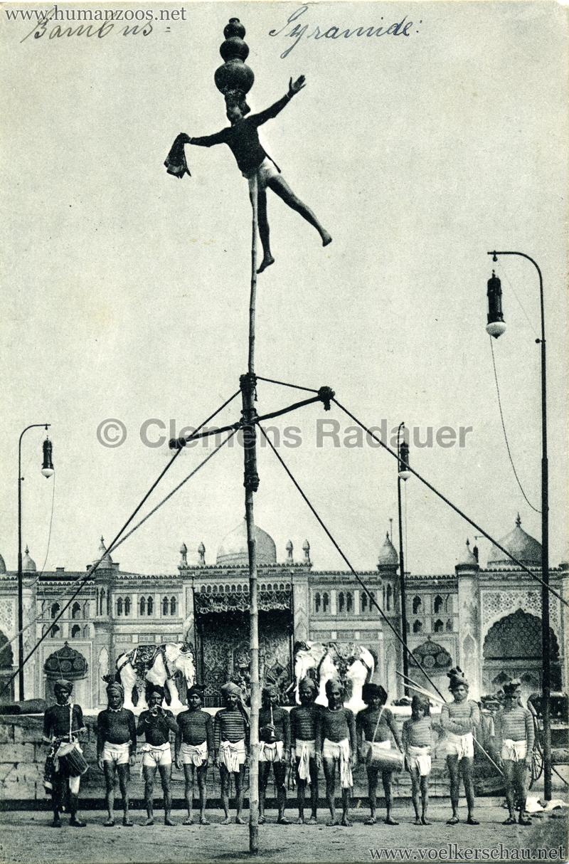 1910:1911:1912 Gustav Hagenbeck's grösste indische Völkerschau der Welt - Bambuspyramide 2 VS