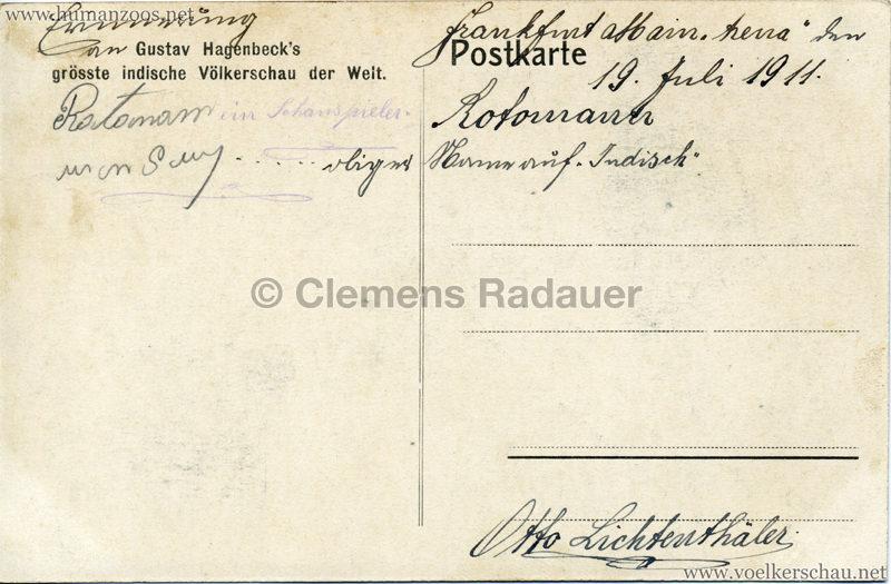 1910:1911:1912 Gustav Hagenbeck's grösste indische Völkerschau der Welt - Verkaufsstände 1 2 RS