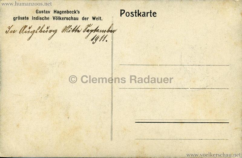 1910:1911:1912 Gustav Hagenbeck's grösste indische Völkerschau der Welt - Verkaufsstände 1 3 RS