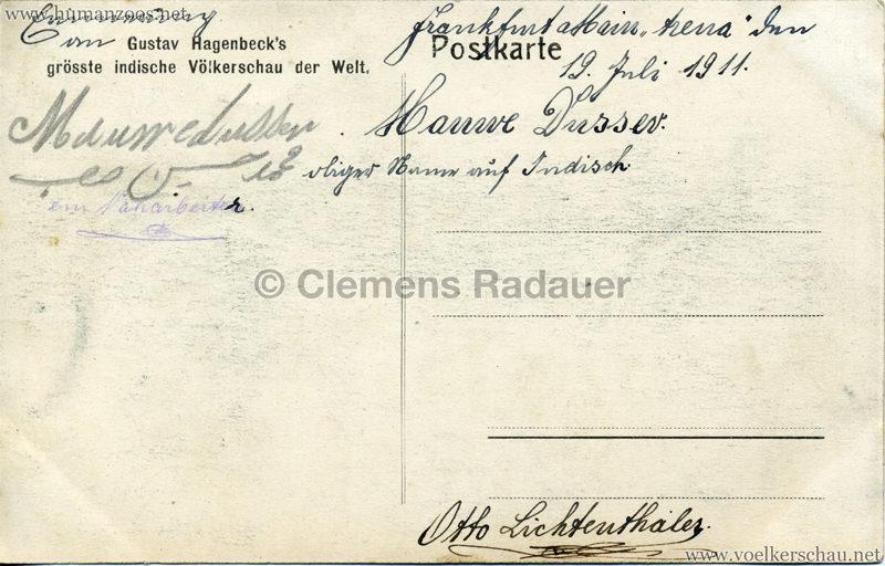 1910:1911:1912 Gustav Hagenbeck's grösste indische Völkerschau der Welt - Verkaufsstände 2 2 RS