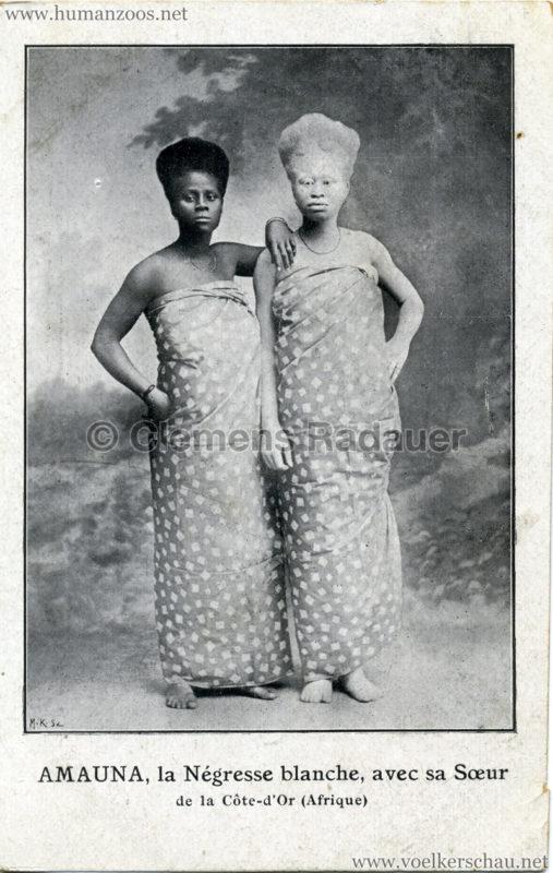Amauna, la Négresse blanche, avec sa Soeur de la Côte-d'Or (Afrique)