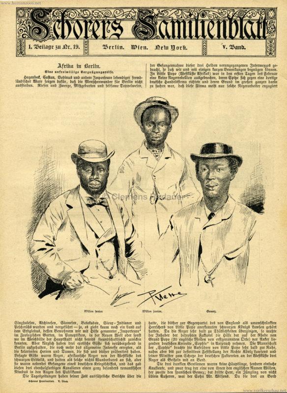 1884 - Schorers Familienblatt Nr. 19. - Afrika in Berlin - Seite 1