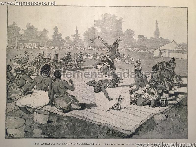 1887 Le Monde Illustré - Les Achantis au Jardin d'Acclimatation - La Danse Guerrière