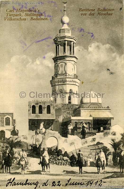 1912 Völkerschau Beduinen - Berittene Beduinen vor der Moschee 3