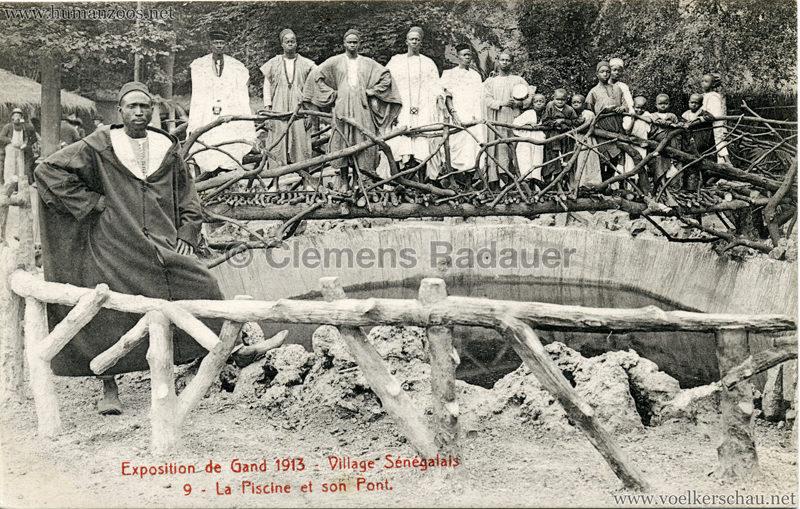 1913 Exposition de Gand - Village Sénégalais - 9. La Piscine et son Pont