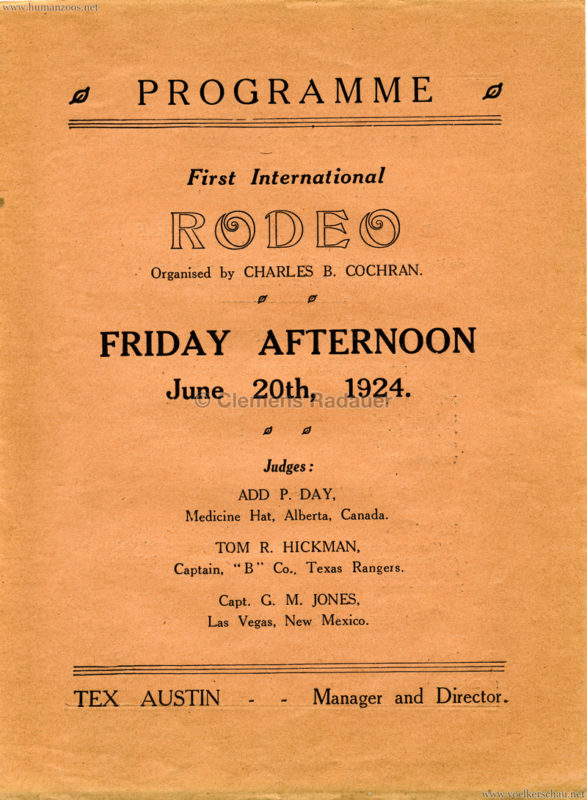 1924 First International Rodeo or Cowboy Championships Flyer