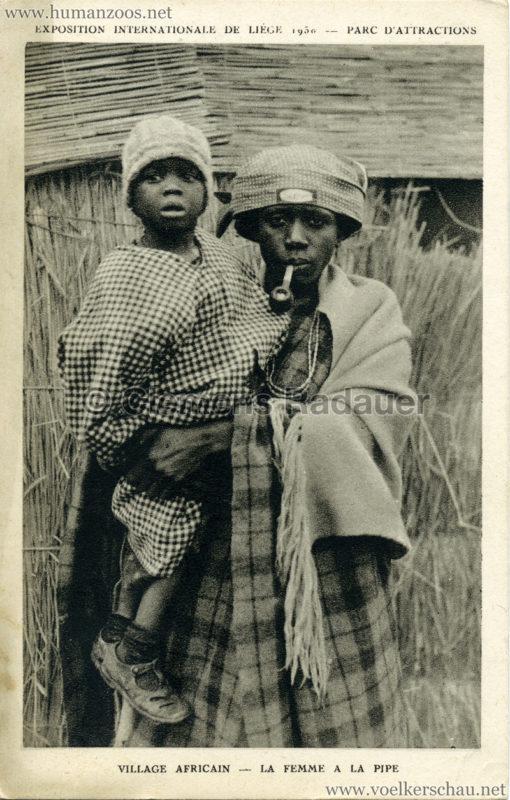1930 Exposition Internationale de Liége - Village Africain - La femme a la pipe