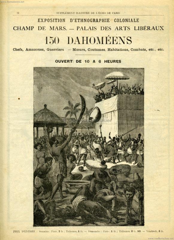 1893 L'Exposition d'Ethnographie coloniale de Paris - 150 Dahoméens