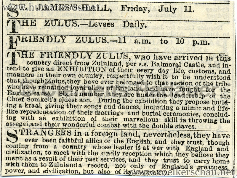 1879 Zulus at the St James Hall