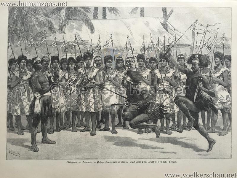 1895.11.23 Illustrirte Zeitung No 2734 S. 628 - Kriegstanz der Samoaner im Passage-Panopticum zu Berlin