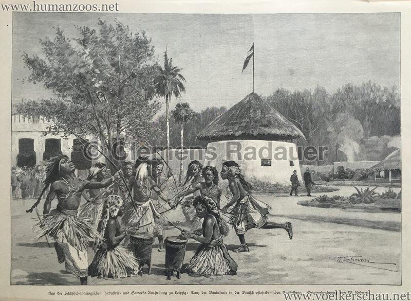 1897.05.20 Illustrirte Zeitung No. 2812 S. 653 - Sächsisch-thüringischen Industrie- und Gewerbeausstellung zu Leipzig Tanz der Bantuleute in der Deutsch-ostafrikanischen Ausstellung