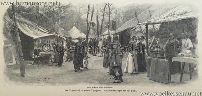 1897.09.05 Illustrirte Zeitung No. 2823 S. 189 - Die Aschanti im wiener Thiergarten - Ansicht des Dorfes mit den Verkaufsbuden