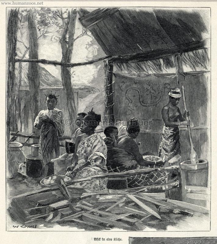1897.09.05 Illustrirte Zeitung No. 2823 S. 189 - Die Aschanti im wiener Thiergarten - Blick in die Küche