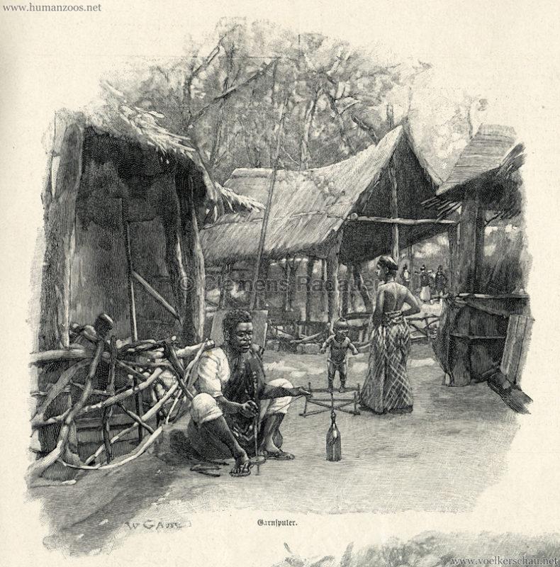 1897.09.05 Illustrirte Zeitung No. 2823 S. 189 - Die Aschanti im wiener Thiergarten - Garnspuler