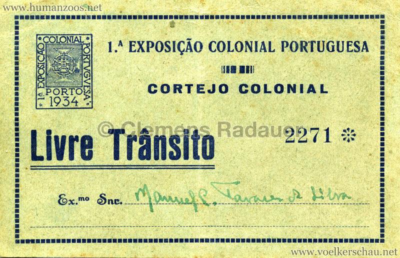 1934 Exposicao Colonial Portuguesa Porto TICKET