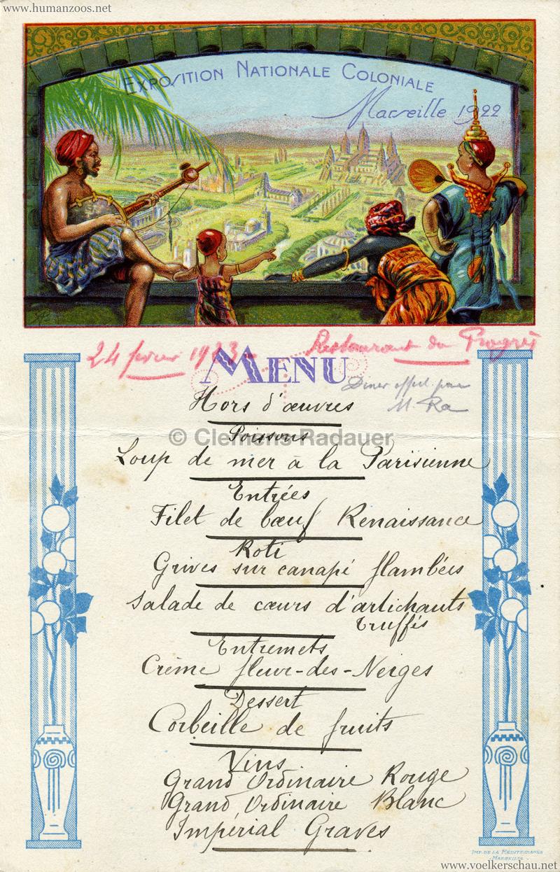 1922 Exposition Coloniale de Marseille MENUE