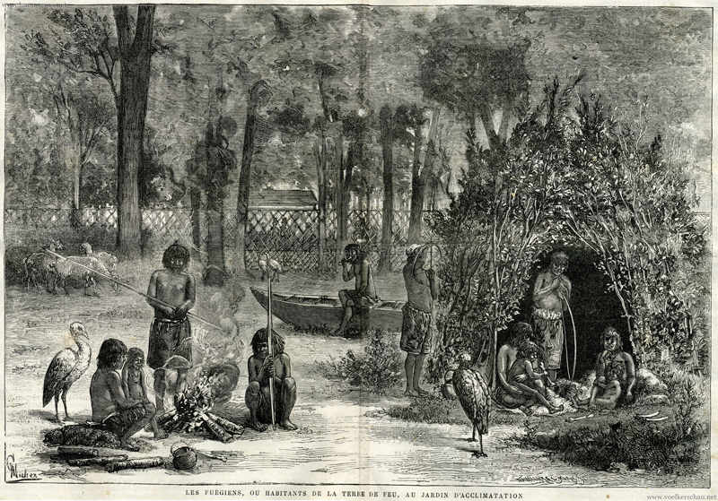 1881.09.23 Le Voleur Nu 1264 p. 601 - Les Fuegiens au Jardin d'Acclimatation Illustration