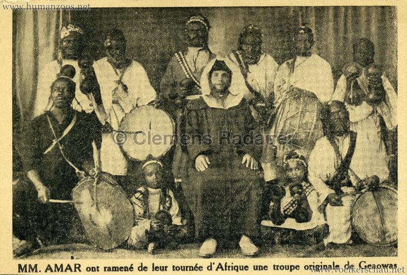 1938 MM. Amar ont ramene de leur tournee d'Afrique une troupe originale Geaowas