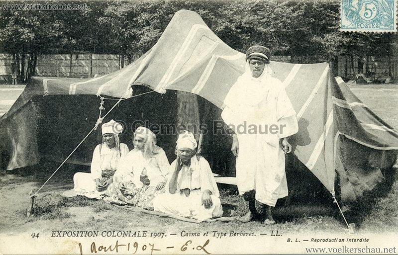 1907 Exposition Coloniale Paris, Bois de Vincennes - 94. Caima et Type Berberes