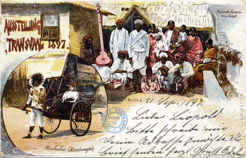 1897 Transvaal Ausstellung Berlin - Indische Familie aus Natal