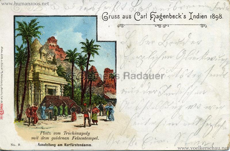 1898 Carl Hagenbeck's Indien No 9. - Platz am Trichinapoly mit dem goldenen Felsentempel VS