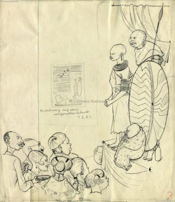 1930er Karikatur Eugen Croissant - Afrikaner VS